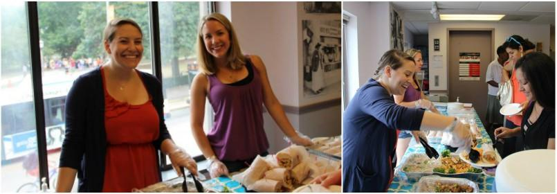 Collage of two photos of women smiling and serving food.