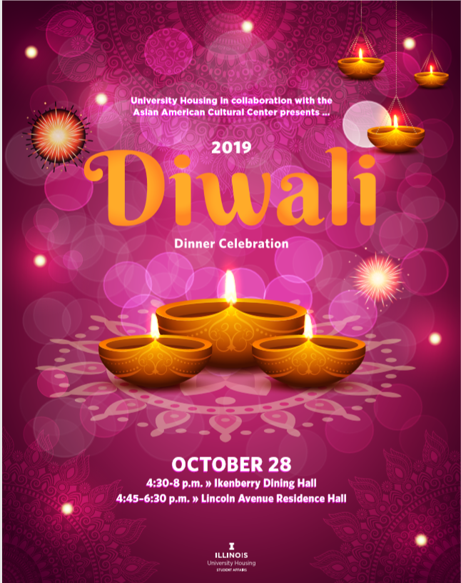 University Dining Diwali Flyer October 28th at Ikenberry Hall