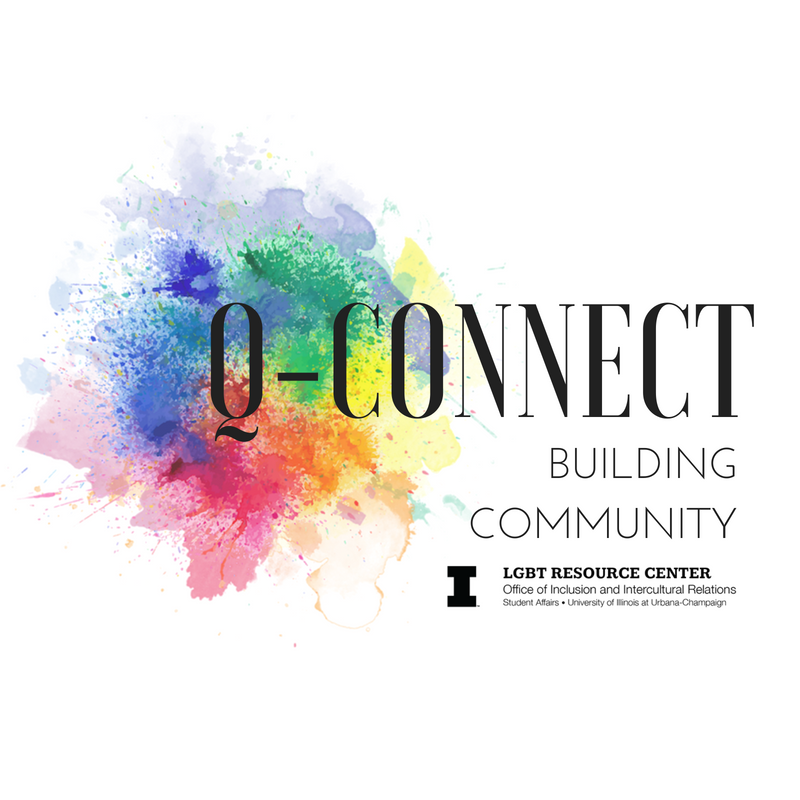 Image of rainbow water colors with text that reads Q-Connect, Building Community