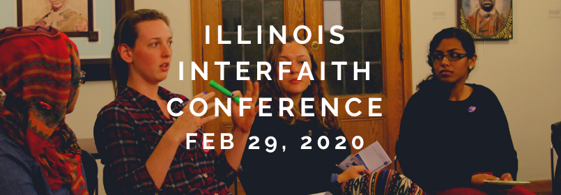"""Image of three female students talking together with the text """"Illinois Interfaith Conference February 29, 2020"""""""