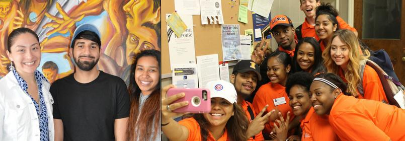 Two pictures in a collage- the first picture on the left is a man and woman smiling and the second picture on the right is a large group of people posing for a selfie