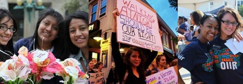 Banner; a collage of three images of women marching and smiling for the camera.