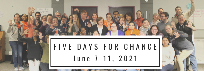 """People stand together smiling with the text that reads CANCELLED """"Five Days for Change January 11-15, 2021"""""""