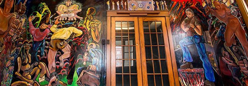 Photograph of murals from La Casa's original location.