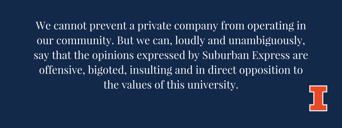 Statement in Response to Suburban Express Ad